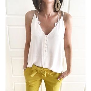 Loft Off White Covered Button Cami